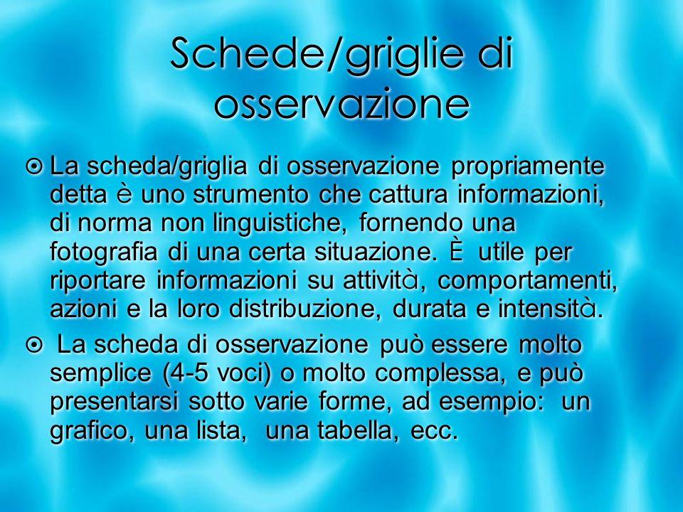 Schede/griglie di osservazione La scheda/griglia di osservazione propriamente detta è uno strumento che cattura informazioni, di norma non linguistich