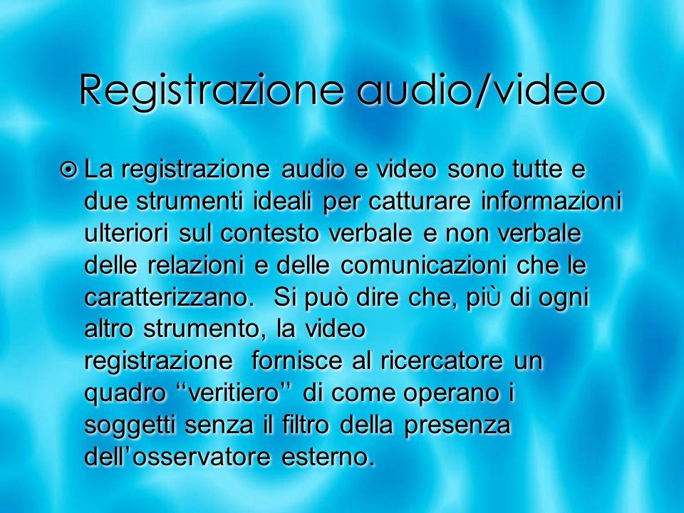 Registrazione audio/video La registrazione audio e video sono tutte e due strumenti ideali per catturare informazioni ulteriori sul contesto verbale e