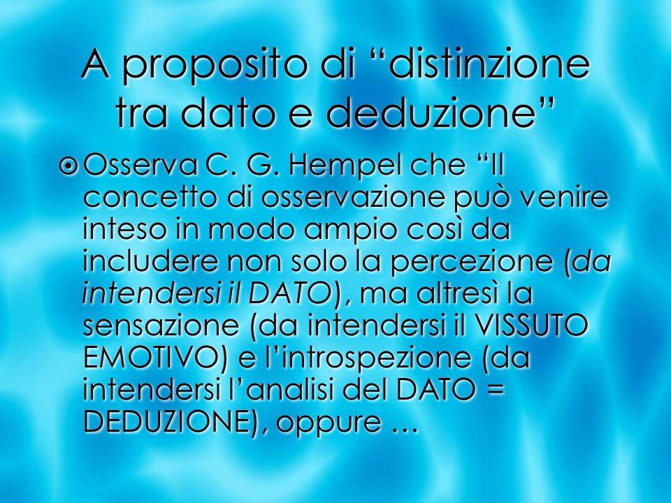 A proposito di distinzione tra dato e deduzione Osserva C. G. Hempel che Il concetto di osservazione può venire inteso in modo ampio così da includere