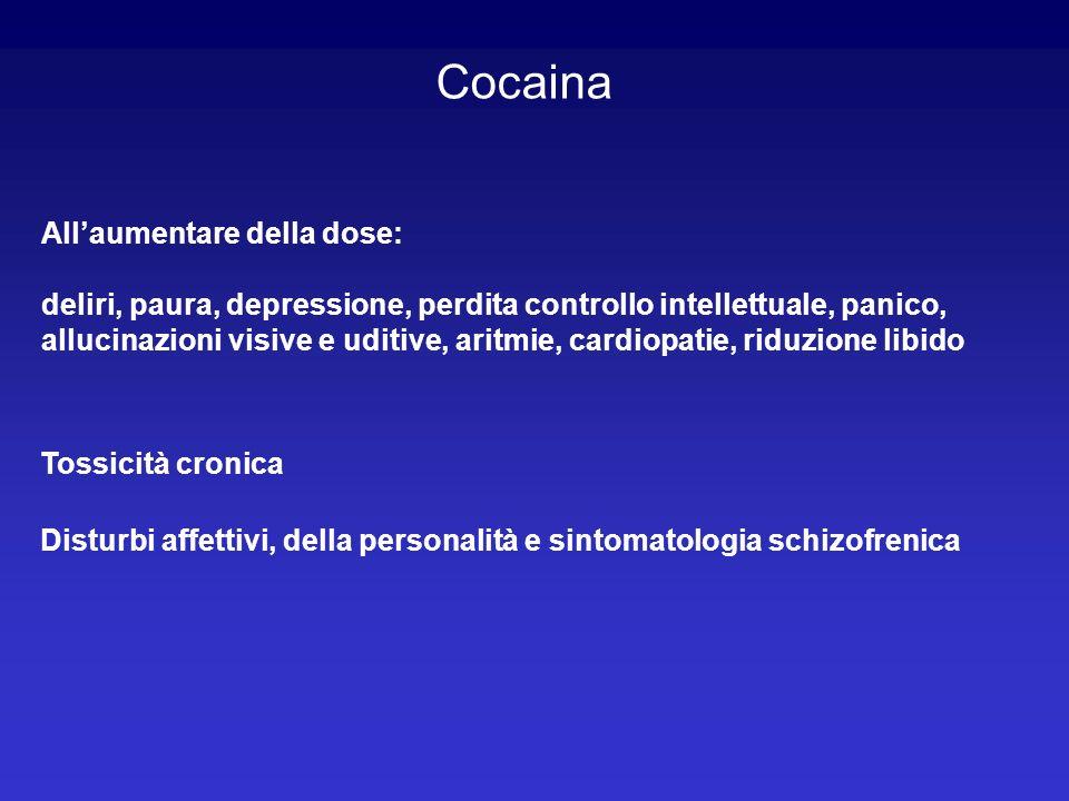 Cocaina Allaumentare della dose: deliri, paura, depressione, perdita controllo intellettuale, panico, allucinazioni visive e uditive, aritmie, cardiop