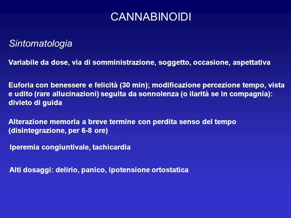 CANNABINOIDI Sintomatologia Variabile da dose, via di somministrazione, soggetto, occasione, aspettativa Euforia con benessere e felicità (30 min); mo