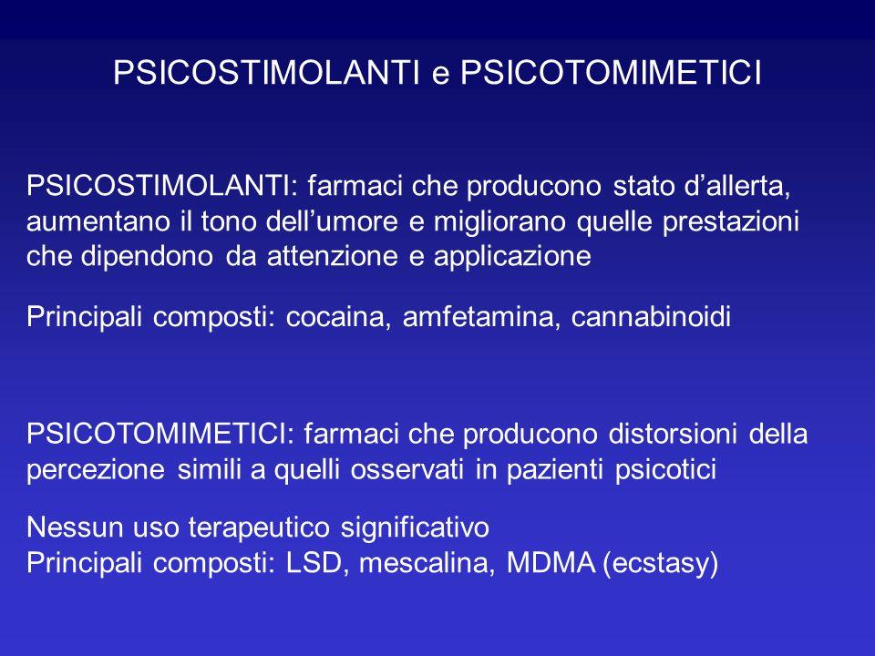 PSICOSTIMOLANTI e PSICOTOMIMETICI PSICOSTIMOLANTI: farmaci che producono stato dallerta, aumentano il tono dellumore e migliorano quelle prestazioni c