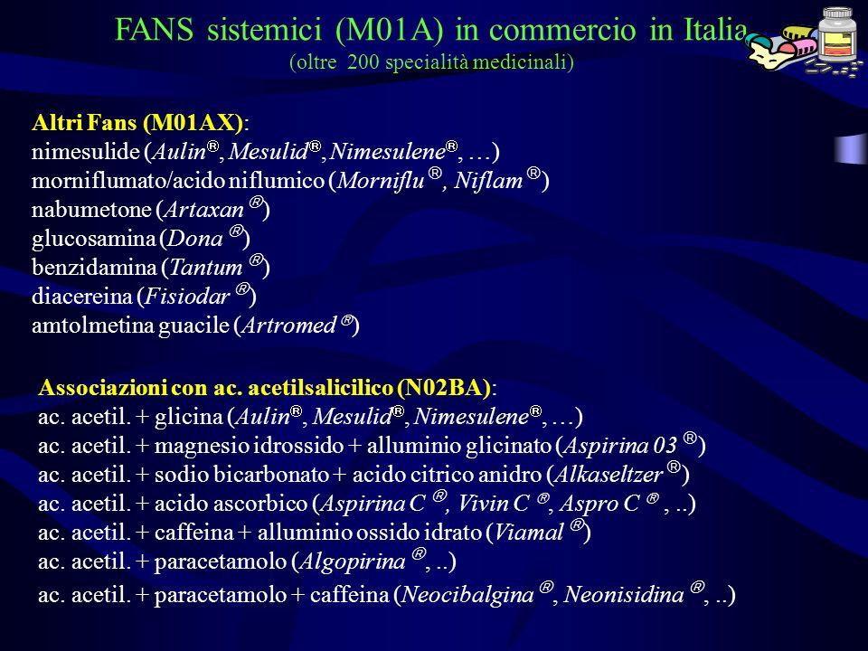 Altri Fans (M01AX): nimesulide (Aulin, Mesulid, Nimesulene, …) morniflumato/acido niflumico (Morniflu, Niflam ) nabumetone (Artaxan ) glucosamina (Don