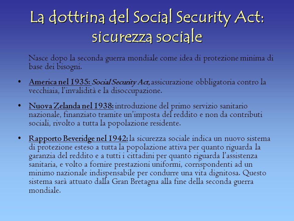 La dottrina del Social Security Act: sicurezza sociale Nasce dopo la seconda guerra mondiale come idea di protezione minima di base dei bisogni.