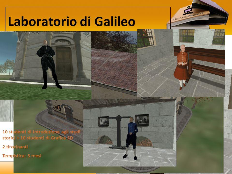 19/02/10 Laboratorio di Galileo 10 studenti di Introduzione agli studi storici + 10 studenti di Grafica 3D 2 tirocinanti Tempistica: 3 mesi Pannelli e oggetti interattivi Notecard con testo storico Audioguide con testo storico Esperimenti funzionanti Personaggi del Dialogo