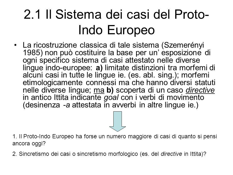 2.1 Il Sistema dei casi del Proto- Indo Europeo La ricostruzione classica di tale sistema (Szemerényi 1985) non può costituire la base per un esposizi