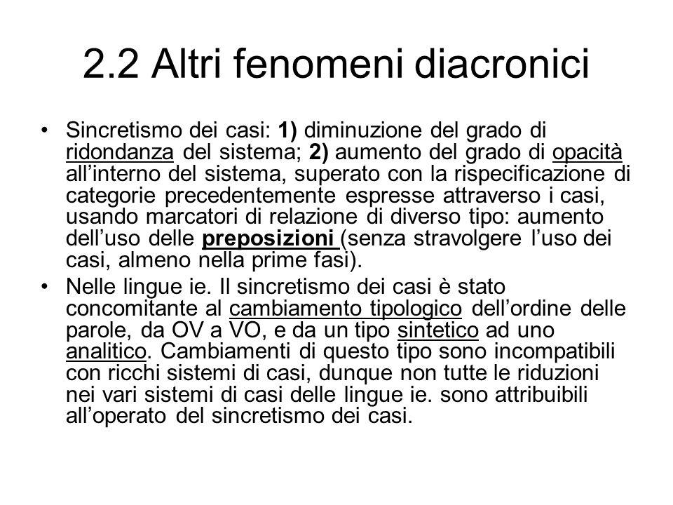 2.2 Altri fenomeni diacronici Sincretismo dei casi: 1) diminuzione del grado di ridondanza del sistema; 2) aumento del grado di opacità allinterno del