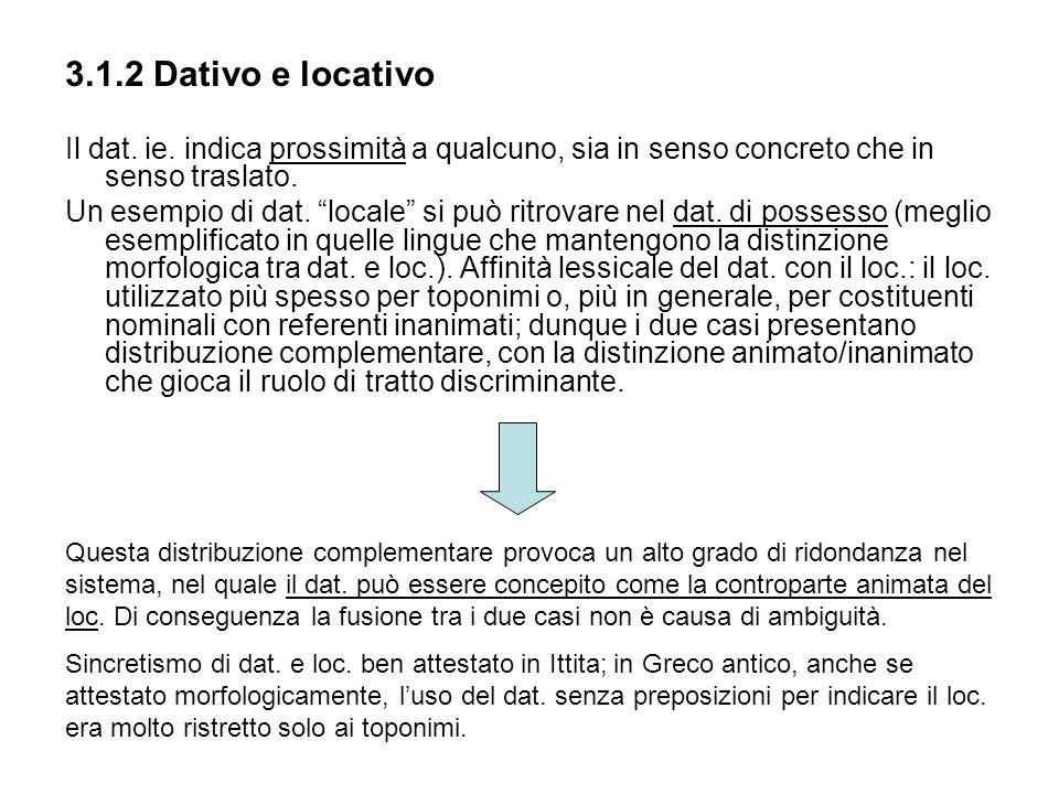 3.1.2 Dativo e locativo Il dat. ie. indica prossimità a qualcuno, sia in senso concreto che in senso traslato. Un esempio di dat. locale si può ritrov