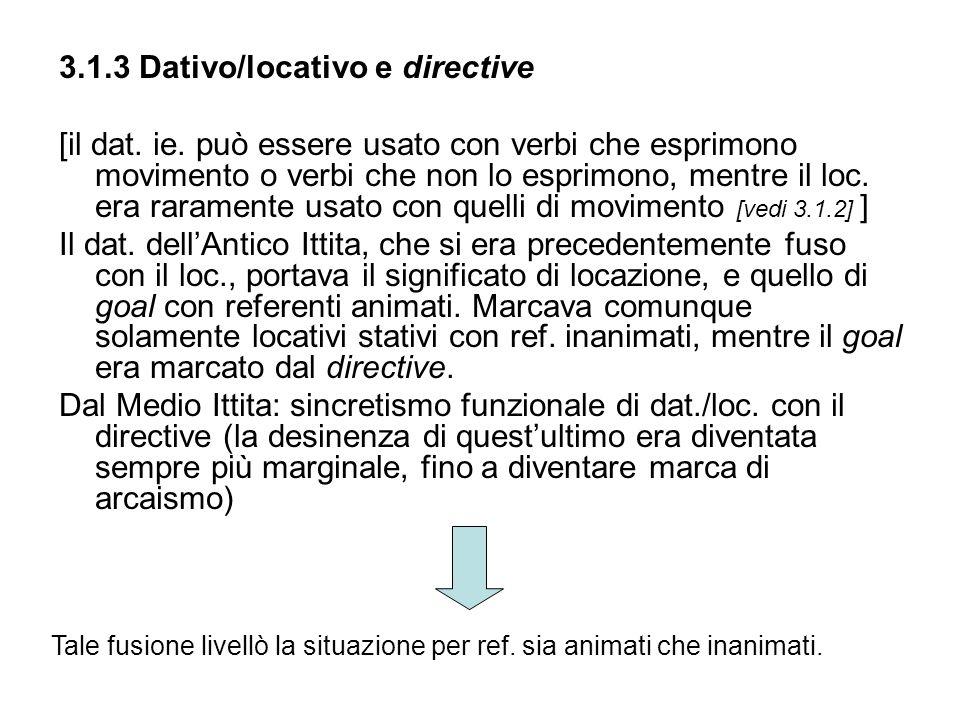 3.1.3 Dativo/locativo e directive [il dat. ie. può essere usato con verbi che esprimono movimento o verbi che non lo esprimono, mentre il loc. era rar