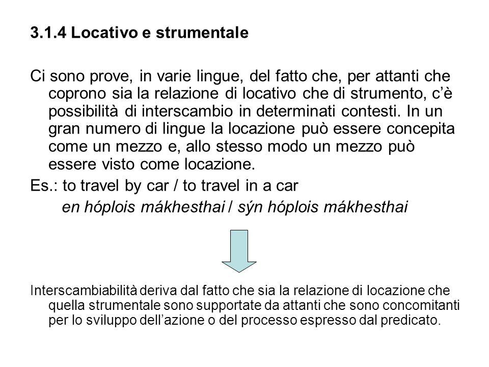 3.1.4 Locativo e strumentale Ci sono prove, in varie lingue, del fatto che, per attanti che coprono sia la relazione di locativo che di strumento, cè