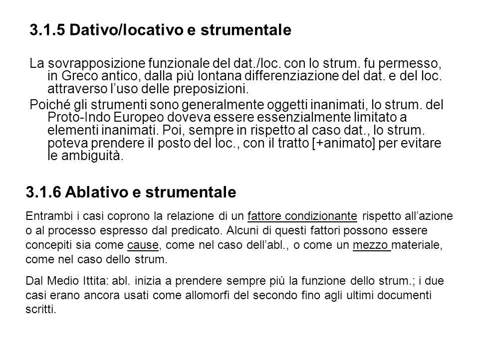 3.1.5 Dativo/locativo e strumentale La sovrapposizione funzionale del dat./loc. con lo strum. fu permesso, in Greco antico, dalla più lontana differen