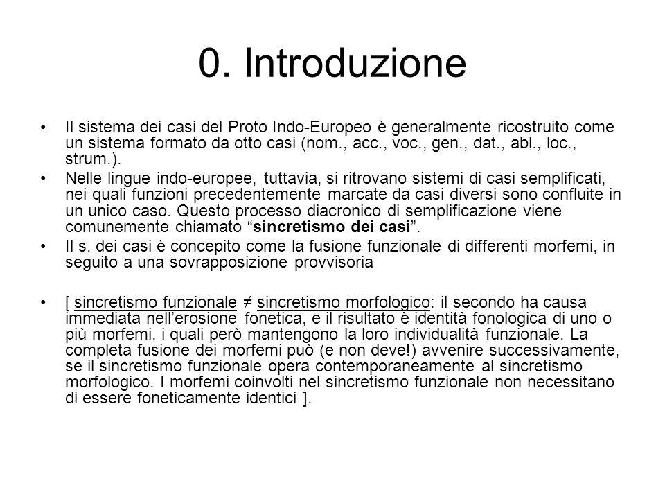 0. Introduzione Il sistema dei casi del Proto Indo-Europeo è generalmente ricostruito come un sistema formato da otto casi (nom., acc., voc., gen., da