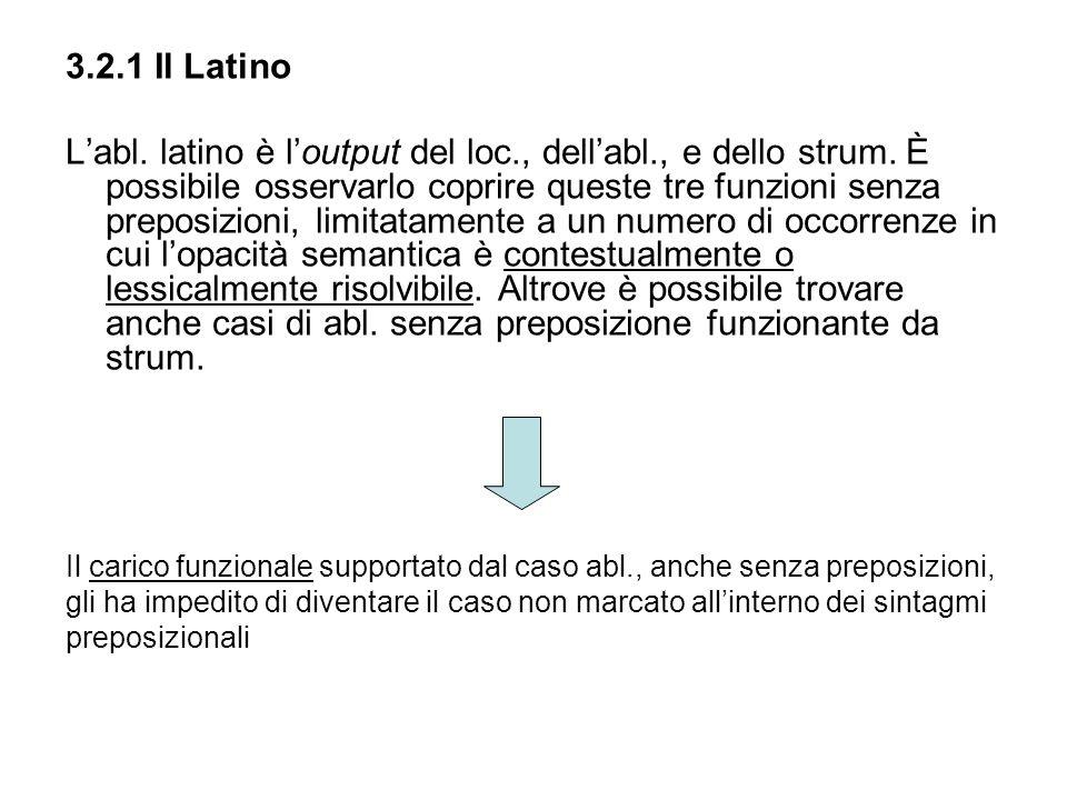 3.2.1 Il Latino Labl. latino è loutput del loc., dellabl., e dello strum. È possibile osservarlo coprire queste tre funzioni senza preposizioni, limit