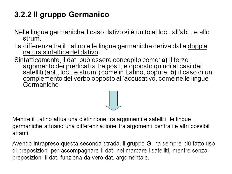 3.2.2 Il gruppo Germanico Nelle lingue germaniche il caso dativo si è unito al loc., allabl., e allo strum. La differenza tra il Latino e le lingue ge