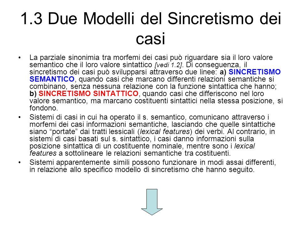 1.3 Due Modelli del Sincretismo dei casi La parziale sinonimia tra morfemi dei casi può riguardare sia il loro valore semantico che il loro valore sin