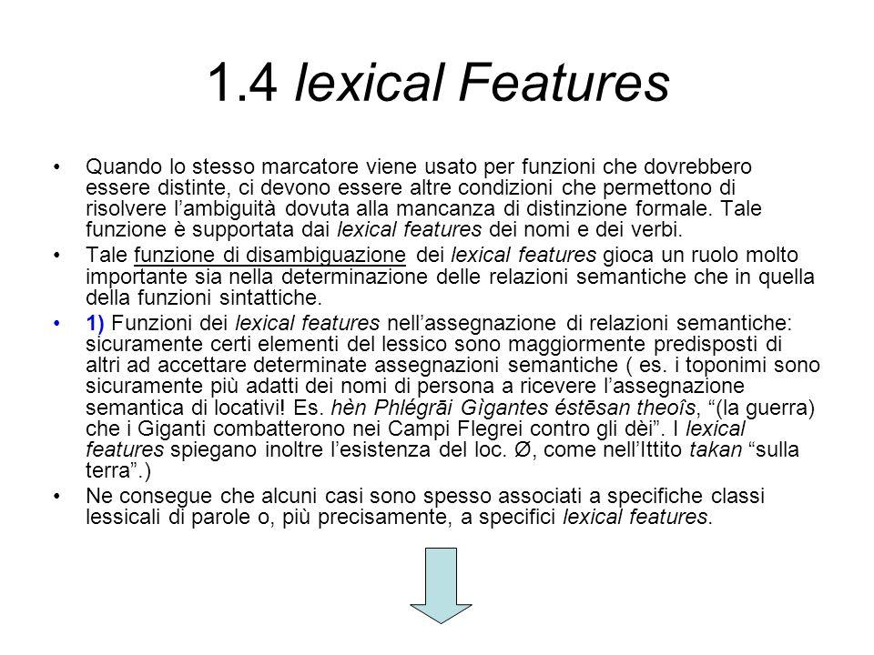 1.4 lexical Features Quando lo stesso marcatore viene usato per funzioni che dovrebbero essere distinte, ci devono essere altre condizioni che permett