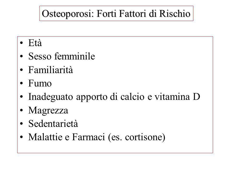 Età Sesso femminile Familiarità Fumo Inadeguato apporto di calcio e vitamina D Magrezza Sedentarietà Malattie e Farmaci (es. cortisone) Osteoporosi: F