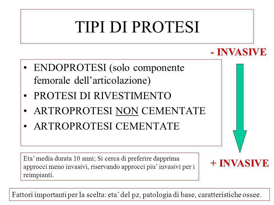 TIPI DI PROTESI ENDOPROTESI (solo componente femorale dellarticolazione) PROTESI DI RIVESTIMENTO ARTROPROTESI NON CEMENTATE ARTROPROTESI CEMENTATE - I
