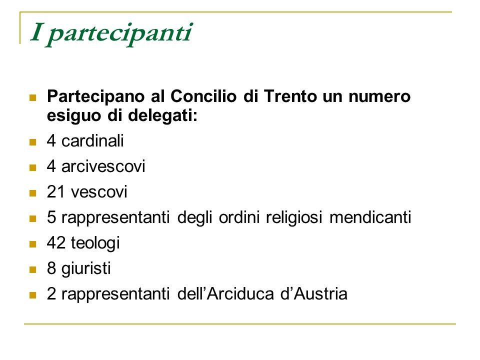 I partecipanti Partecipano al Concilio di Trento un numero esiguo di delegati: 4 cardinali 4 arcivescovi 21 vescovi 5 rappresentanti degli ordini reli