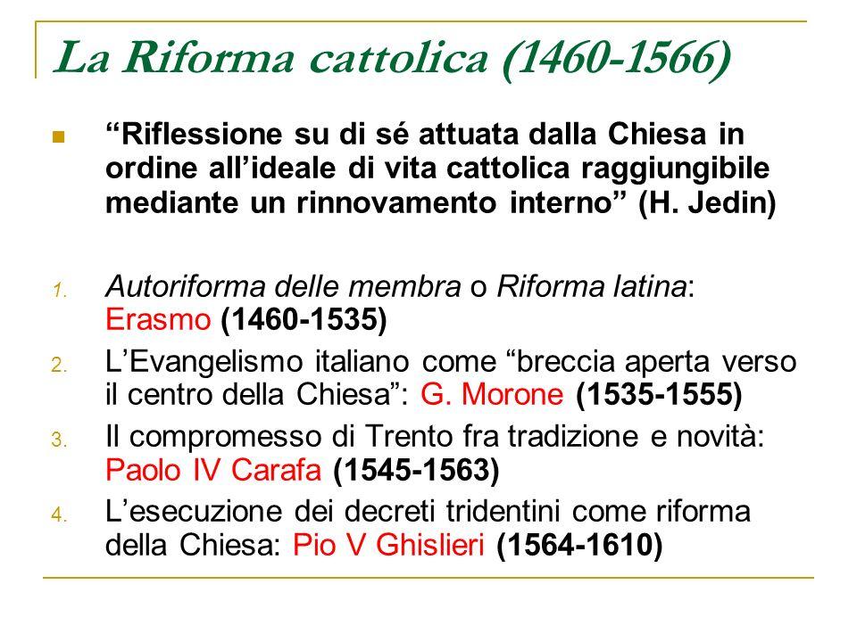 La Riforma cattolica (1460-1566) Riflessione su di sé attuata dalla Chiesa in ordine allideale di vita cattolica raggiungibile mediante un rinnovament
