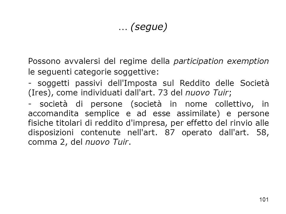 101 … (segue) Possono avvalersi del regime della participation exemption le seguenti categorie soggettive: - soggetti passivi dell'Imposta sul Reddito