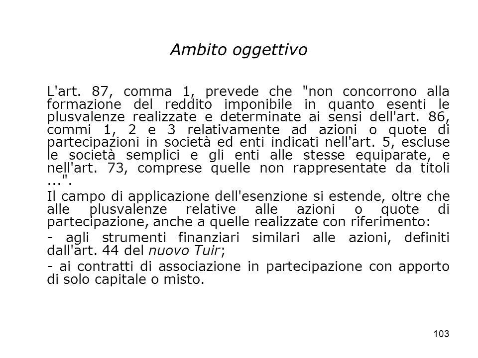 103 Ambito oggettivo L'art. 87, comma 1, prevede che