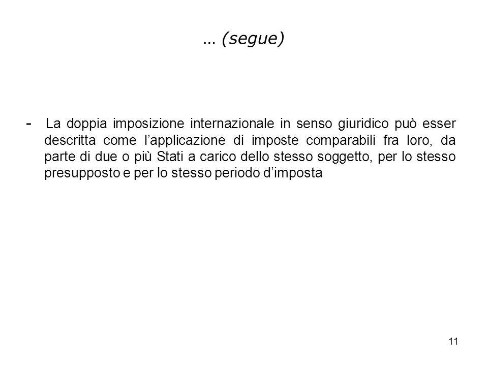 11 … (segue) - La doppia imposizione internazionale in senso giuridico può esser descritta come lapplicazione di imposte comparabili fra loro, da part