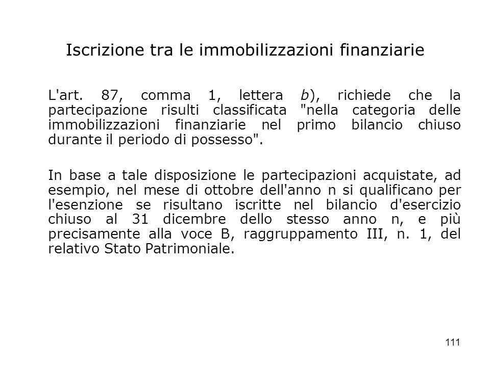 111 Iscrizione tra le immobilizzazioni finanziarie L'art. 87, comma 1, lettera b), richiede che la partecipazione risulti classificata