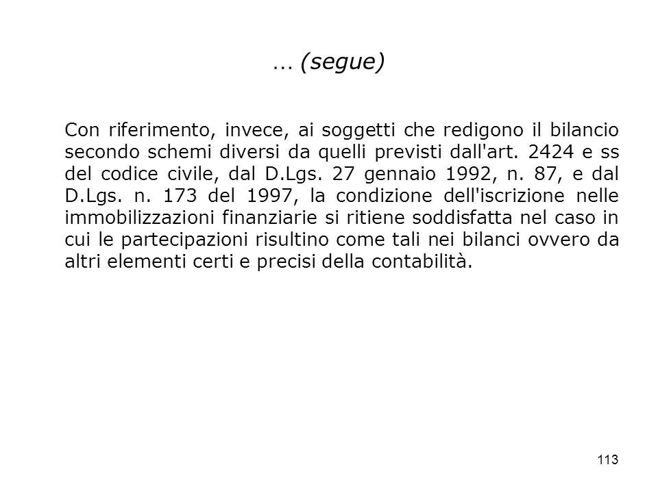 113 … (segue) Con riferimento, invece, ai soggetti che redigono il bilancio secondo schemi diversi da quelli previsti dall'art. 2424 e ss del codice c