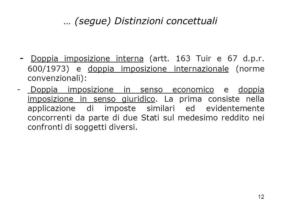 12 … (segue) Distinzioni concettuali - Doppia imposizione interna (artt. 163 Tuir e 67 d.p.r. 600/1973) e doppia imposizione internazionale (norme con