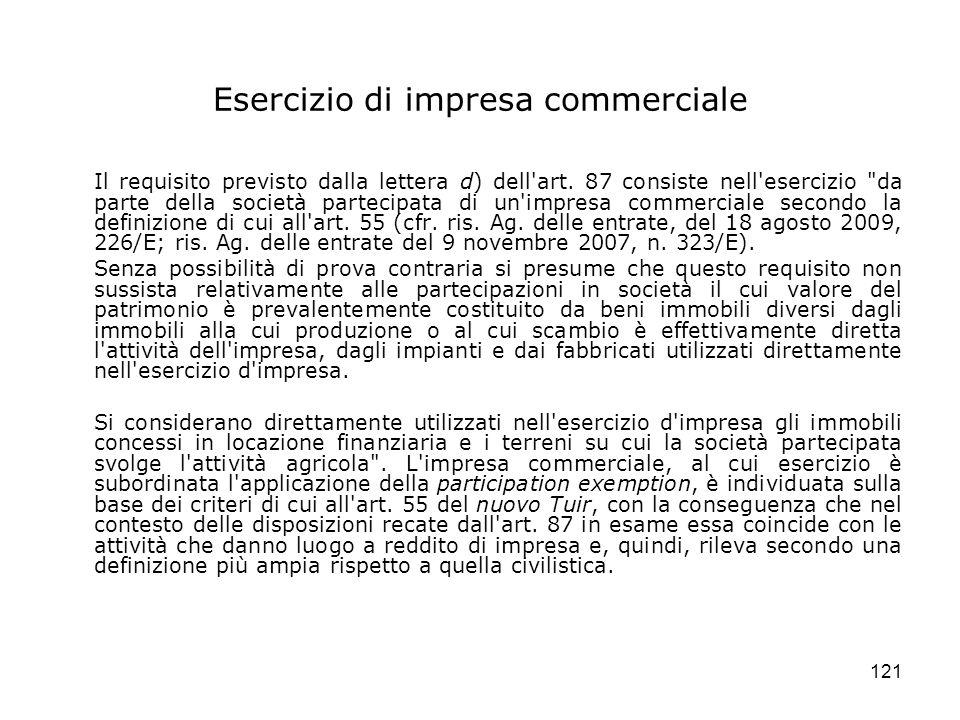 121 Esercizio di impresa commerciale Il requisito previsto dalla lettera d) dell'art. 87 consiste nell'esercizio