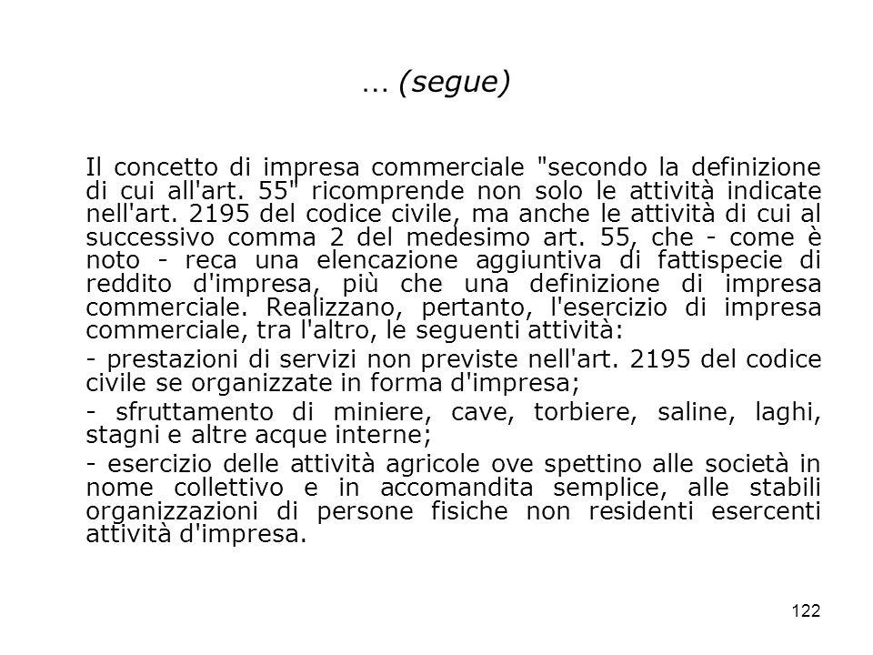 122 … (segue) Il concetto di impresa commerciale