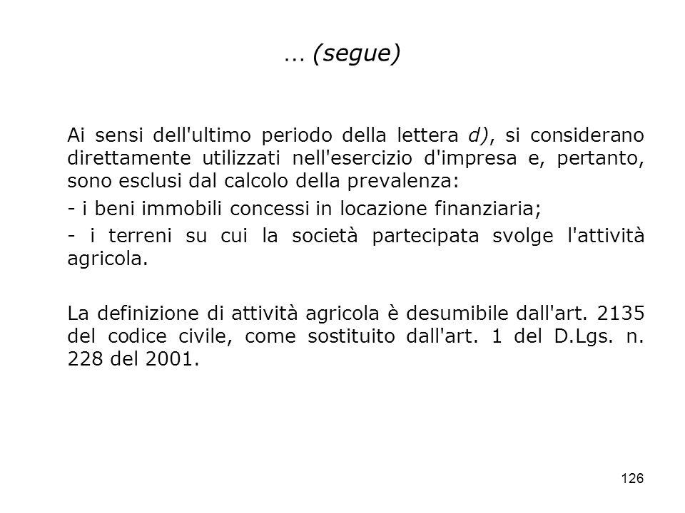 126 … (segue) Ai sensi dell'ultimo periodo della lettera d), si considerano direttamente utilizzati nell'esercizio d'impresa e, pertanto, sono esclusi