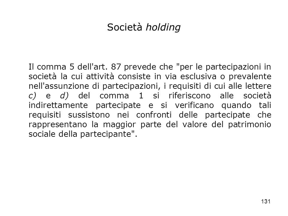 131 Società holding Il comma 5 dell'art. 87 prevede che