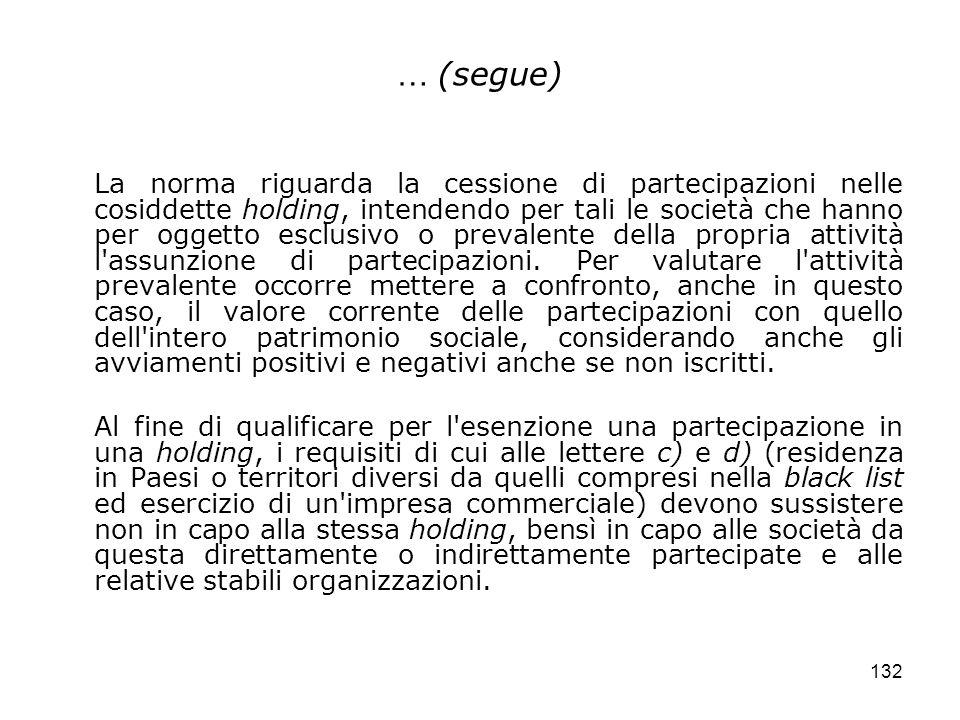 132 … (segue) La norma riguarda la cessione di partecipazioni nelle cosiddette holding, intendendo per tali le società che hanno per oggetto esclusivo