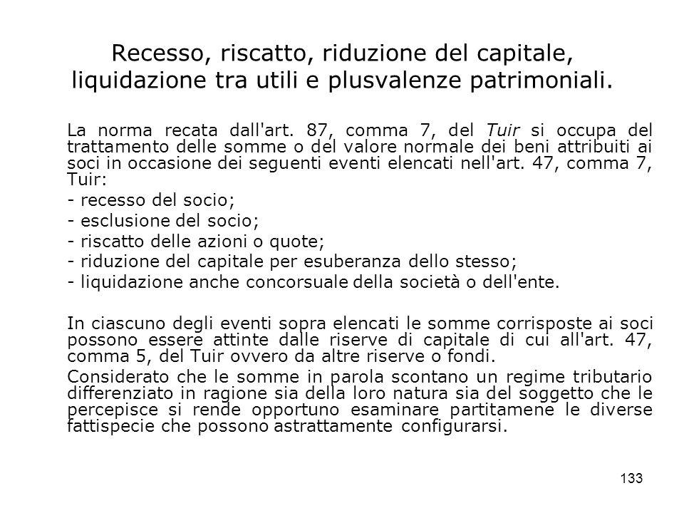 133 Recesso, riscatto, riduzione del capitale, liquidazione tra utili e plusvalenze patrimoniali. La norma recata dall'art. 87, comma 7, del Tuir si o