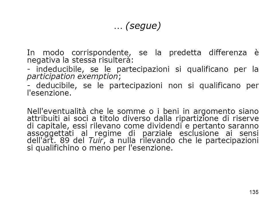 135 … (segue) In modo corrispondente, se la predetta differenza è negativa la stessa risulterà: - indeducibile, se le partecipazioni si qualificano pe