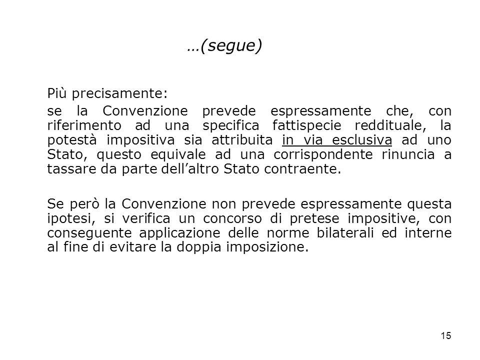 15 …(segue) Più precisamente: se la Convenzione prevede espressamente che, con riferimento ad una specifica fattispecie reddituale, la potestà imposit