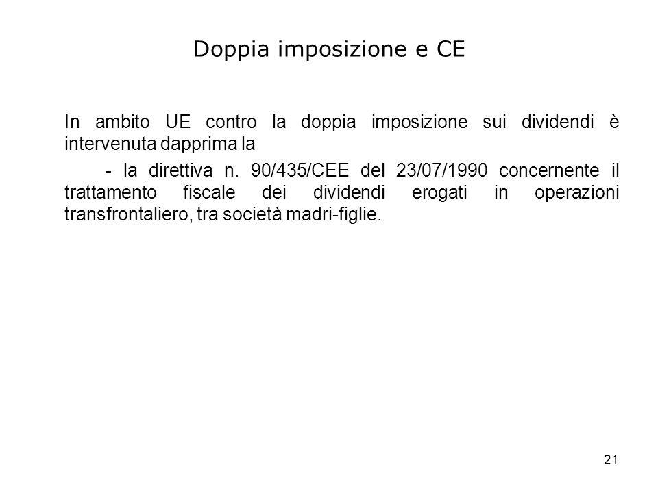 21 Doppia imposizione e CE In ambito UE contro la doppia imposizione sui dividendi è intervenuta dapprima la - la direttiva n. 90/435/CEE del 23/07/19