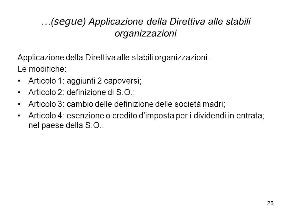 25 …( segue ) Applicazione della Direttiva alle stabili organizzazioni Applicazione della Direttiva alle stabili organizzazioni. Le modifiche: Articol