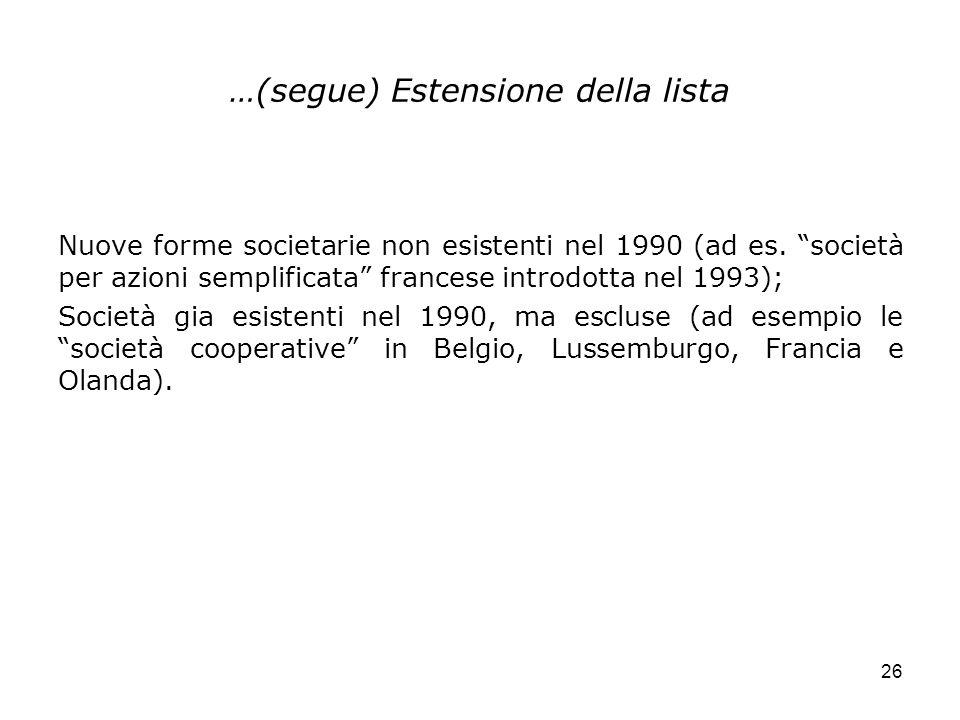 26 …(segue) Estensione della lista Nuove forme societarie non esistenti nel 1990 (ad es. società per azioni semplificata francese introdotta nel 1993)