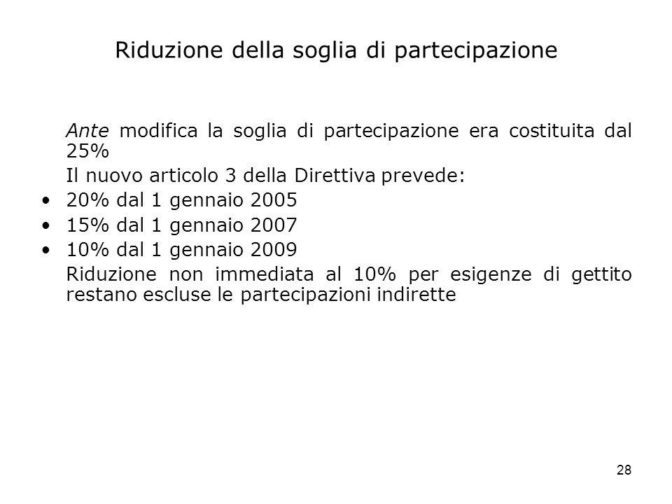 28 Riduzione della soglia di partecipazione Ante modifica la soglia di partecipazione era costituita dal 25% Il nuovo articolo 3 della Direttiva preve