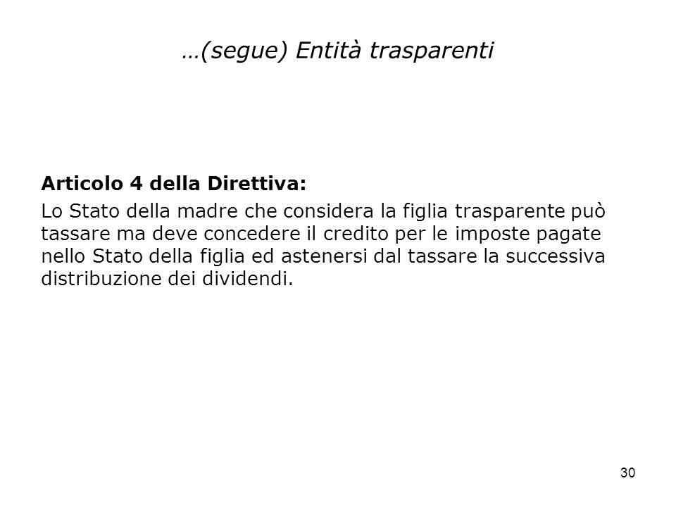 30 …(segue) Entità trasparenti Articolo 4 della Direttiva: Lo Stato della madre che considera la figlia trasparente può tassare ma deve concedere il c