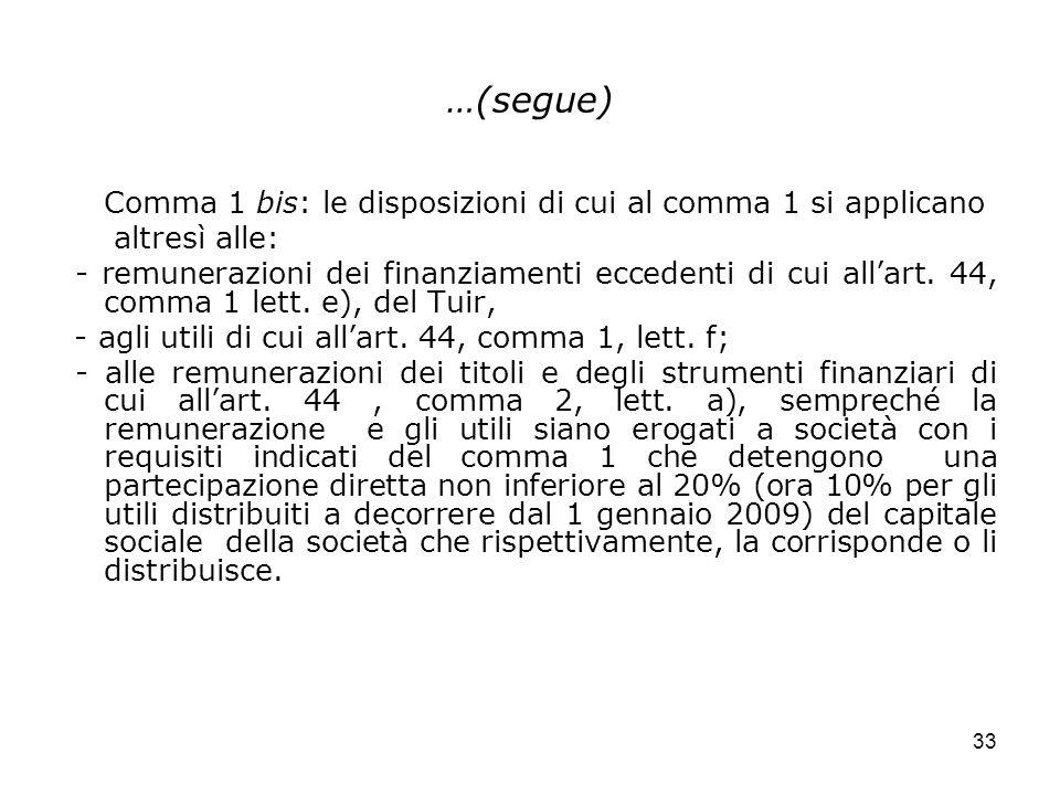 33 …(segue) Comma 1 bis: le disposizioni di cui al comma 1 si applicano altresì alle: - remunerazioni dei finanziamenti eccedenti di cui allart. 44, c