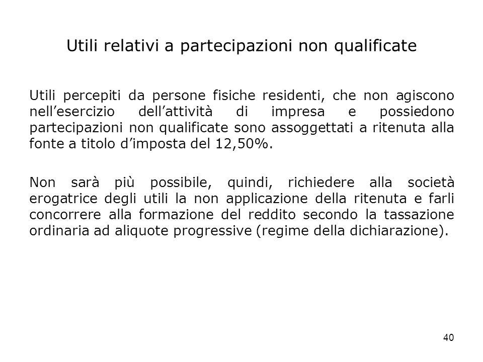 40 Utili relativi a partecipazioni non qualificate Utili percepiti da persone fisiche residenti, che non agiscono nellesercizio dellattività di impres