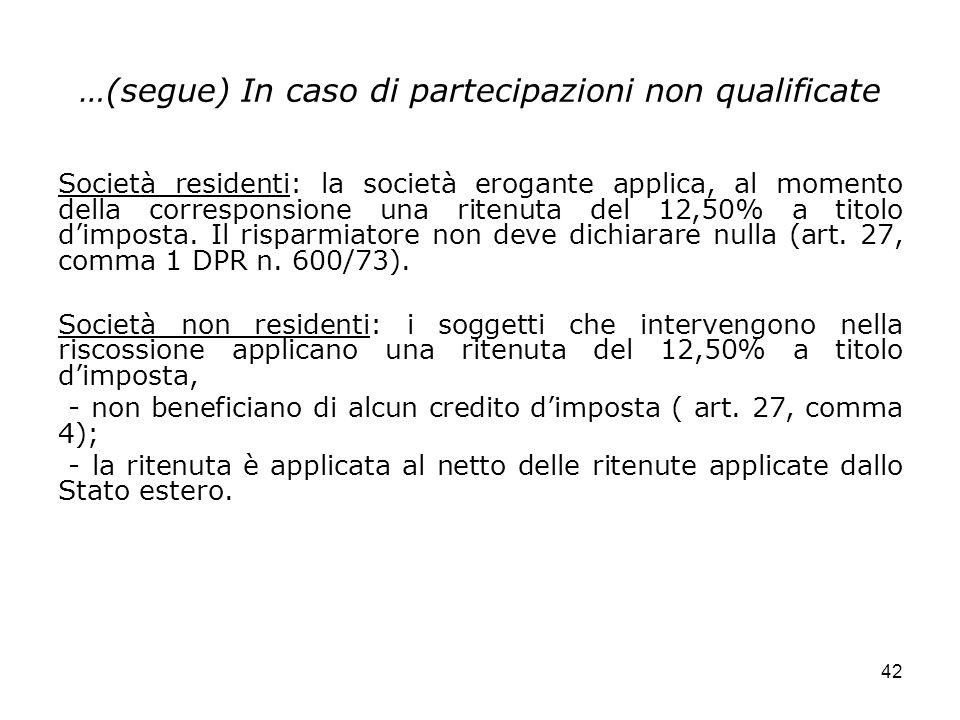 42 …(segue) In caso di partecipazioni non qualificate Società residenti: la società erogante applica, al momento della corresponsione una ritenuta del