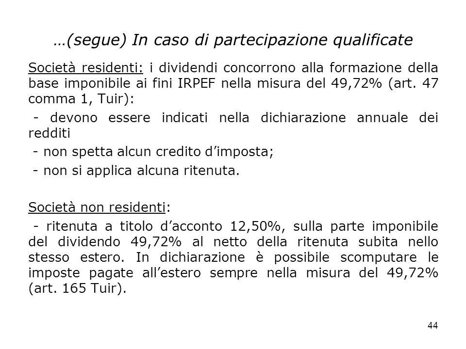 44 …(segue) In caso di partecipazione qualificate Società residenti: i dividendi concorrono alla formazione della base imponibile ai fini IRPEF nella