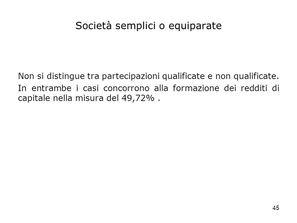 45 Società semplici o equiparate Non si distingue tra partecipazioni qualificate e non qualificate. In entrambe i casi concorrono alla formazione dei