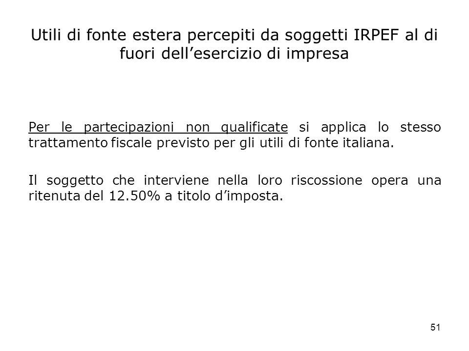 51 Utili di fonte estera percepiti da soggetti IRPEF al di fuori dellesercizio di impresa Per le partecipazioni non qualificate si applica lo stesso t