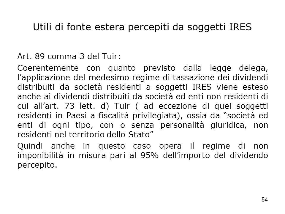 54 Utili di fonte estera percepiti da soggetti IRES Art. 89 comma 3 del Tuir: Coerentemente con quanto previsto dalla legge delega, lapplicazione del